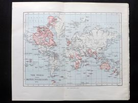 Cassell & Weller 1902 Antique Map. The World Showing British Possessions